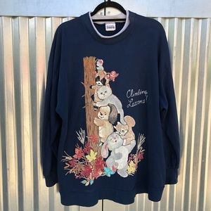Vintage adorable animal print oversized sweatshirt
